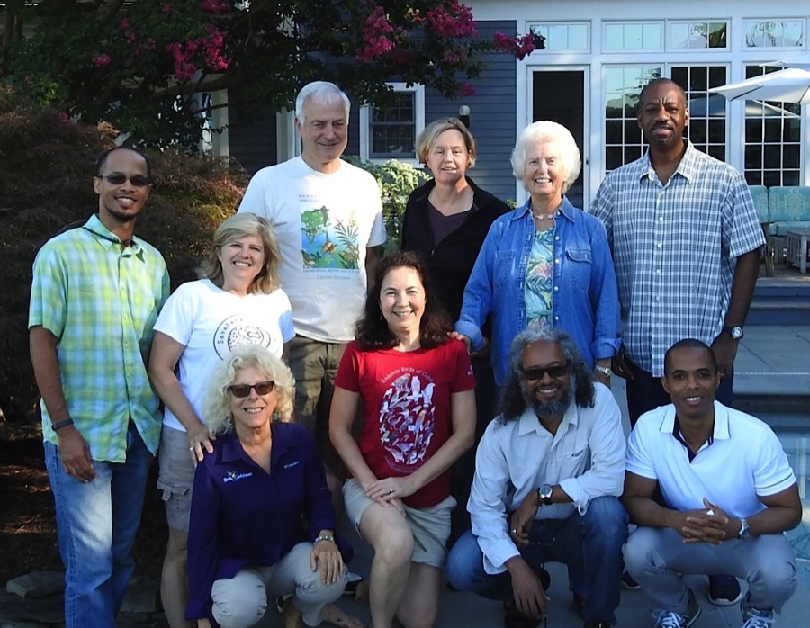 BirdsCaribbean Board members and staff at our annual planning retreat, August 2016 (standing, left to right): Ancilleno Davis (Director), Jennifer Wheeler (Treasurer), Herb Raffaele (Director), Lisa Austin (Director), Erika Gates (Director), Lyndon John(Vice President). Front row: Ann Sutton (Secretary), Lisa Sorenson (Executive Director), Howard Nelson (Past President), Leo Douglas (President) (not pictured: Mark Lopez, Director and Susan Krupica, Administrative Assistant)