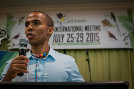 BirdsCaribbean President Leo Douglas welcomes international delegates from 33 nations. (Photo by Mark Yokoyama)