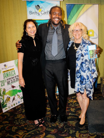 "BirdsCaribbean Executive Director Dr. Lisa Sorenson, Roshaun ""Bay-C"" Clarke, and Dr. Ann Sutton. (Photo by Leno Davis)"