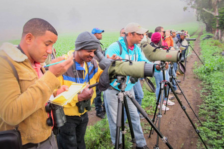Participants practicing how to use spotting scopes to identify distant birds. (Photo by Beny Wilson)