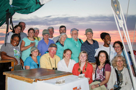 The whole team on board the Sea Explorer. (Photo by Mike Sorenson)