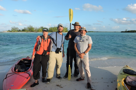 Plover counters on North Caicos in the Turks and Caicos Islands (left to right): Elise Elliott-Smith, Caleb Spiegel, Brian Naqqi Manco of the DECR, and Craig Watson.