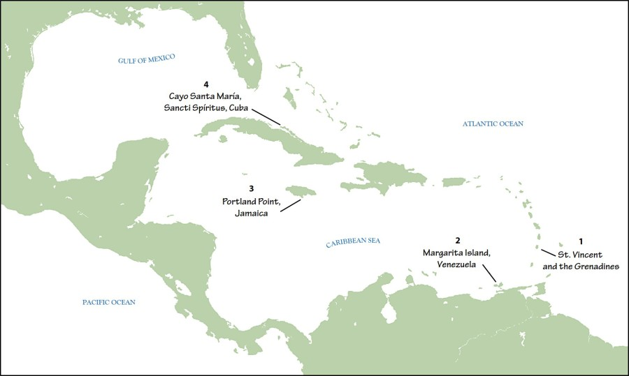 Map depicting research locations of the four studies published by the Journal of Caribbean Ornithology in the first half of 2016.