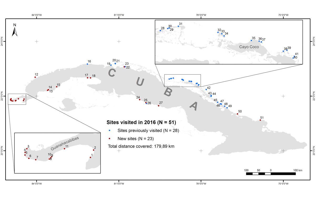 A closer look at Piping Plover survey sites in Cuba, 2016. Map courtesy of Karen Aguilar Mugica.