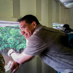 Jamaican Prime Minister Andrew Holness in the bird-watching hide at the Caribbean Coastal Area Management Foundation's (C-CAM) Wetland Information Centre in the Portland Bight Protected Area. The hide is dedicated to the late Jamaican ornithologist Robert Sutton. (Photo: C-CAM)