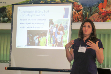 Holly Robertson, Caribbean Birding Trail (CBT) Project Manager, shares the mission and goals of the CBT. (photo by Lisa Sorenson)