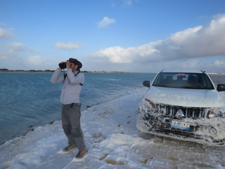 Fernando Simal braving the elements during Bonaire's CWC. (photo by Lisa Sorenson)