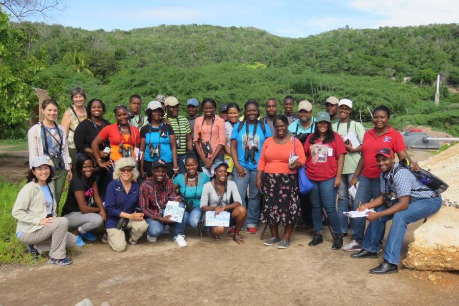 Group photo of workshop participants at the site of C-CAM's Discovery Center.