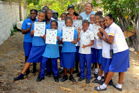 Thanks to educators at the National Environment and Planning Agency (NEPA), students from Port Royal Primary in Jamaica were treated to a field trip that included birding and a nature scavenger hunt using BirdSleuth Caribbean materials published by BirdsCaribbean. (photo courtesy of NEPA)