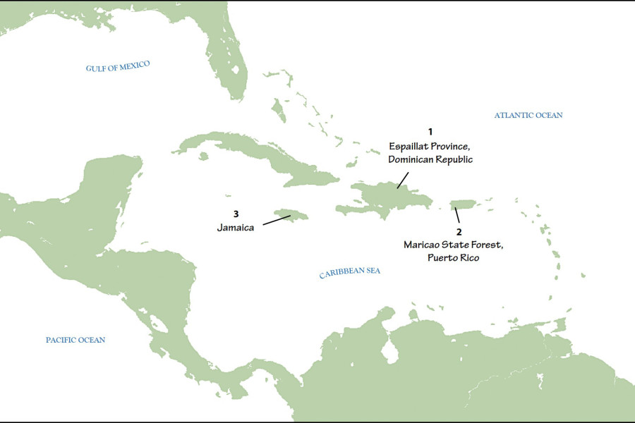 Map depicting locations of the three most recent studies published by the Journal of Caribbean Ornithology in the latter half of 2016.