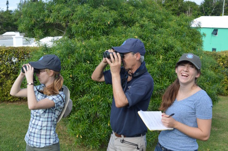 Andrew Dobson birding with his daughters in Bermuda.