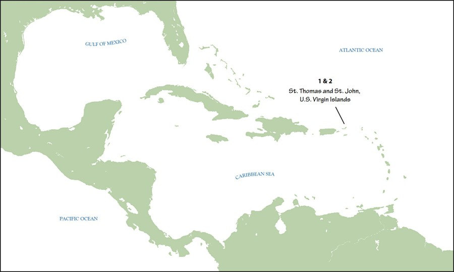 Map of the Caribbean; the two final publications in Volume 29 of the JCO focus on the hypothesized range expansion of Adelaide's Warblers from Puerto Rico eastwards to the U.S. Virgin Islands.