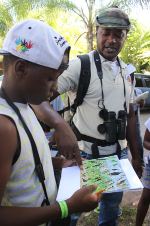 Jermy Shroeter, a ranger at the Blue and John Crow Mountains National Park, helps a BirdSleuth Caribbean camp participant in Jamaica identify a bird in the Bird Detective game (Lesson 8)