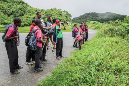 Students go birding in Dominica. (Photo by Stephen Durand)