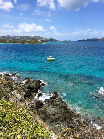 The USVI Division of Fisheries and Wildlife's trusty boat, the R/V Bananaquit, waiting for us at a colony site. (Photo by Paige Byerly)