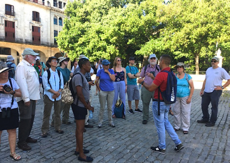 With our tour guide Atíla during the walking tour of old Havana. (Photo by Ericka Gates)
