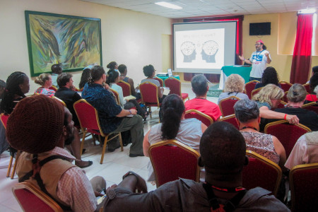 Mark Yokoyama leads a writing workshop at the BirdsCaribbean International Conference. (Photo by Jenn Yerkes)
