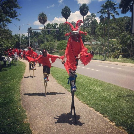 Young moko jumbie performers in Trinidad raise awareness about the plight of the Scarlet Ibis. (Photo by Alice Yard)