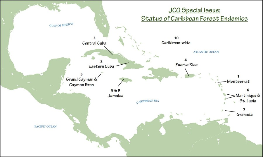 Map showing locations of research on various Caribbean forest endemic birds featured in the Special Issue of JCO.