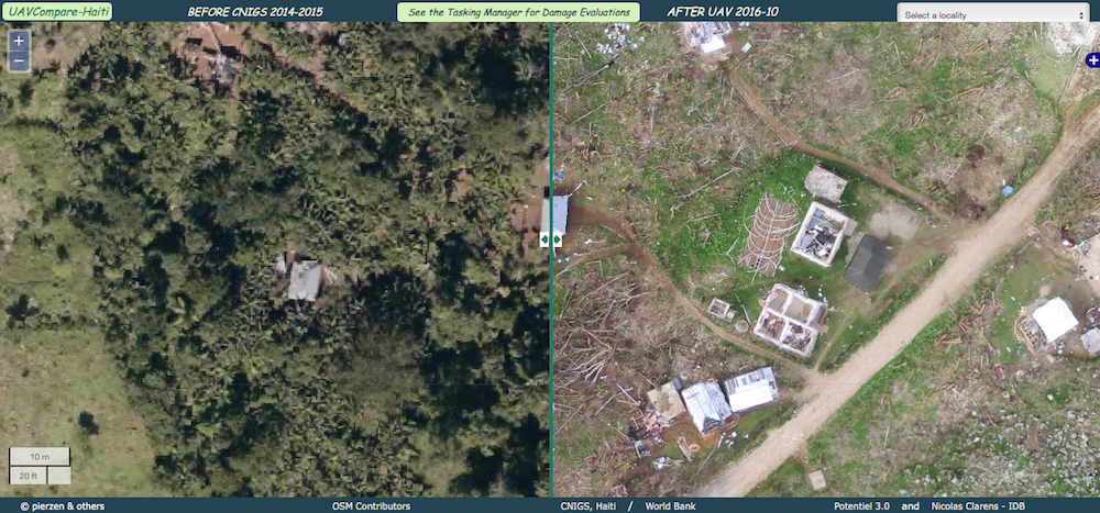 Aerial photos before and after Hurricane Matthew that show the impact of the hurricane on structures and tree cover.