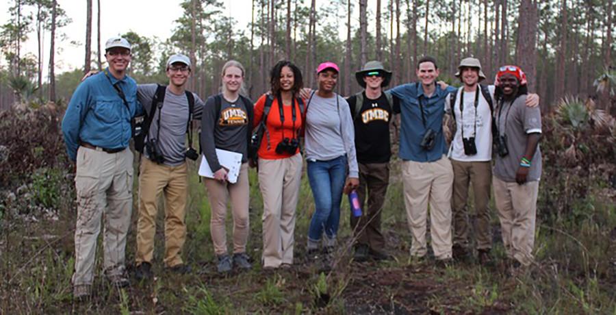 The 2017 Field Crew. Left to Right: Kevin Omland, Michael Rowley, Jennifer Christhilf, Ciera McKoy, Briana Yancy, Matt Kane (all UMBC), Rick Stanley (Imperial College London), Daniel Stonko (UMBC), Scott Johnson (Bahamas National Trust).